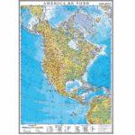 America de Nord. Harta fizică. 1400×1000mm