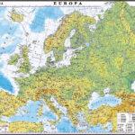 Europa. Harta fizică și a resurselor de subsol. 350×500mm
