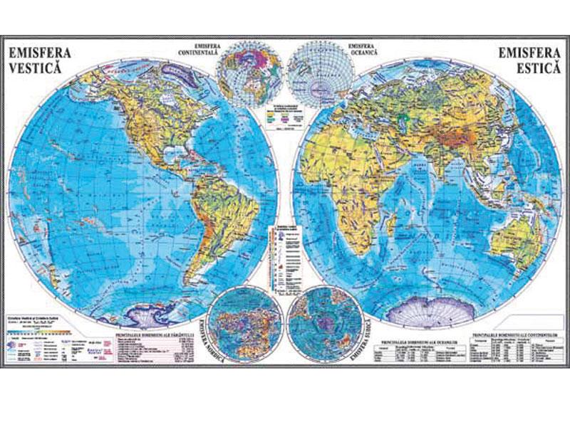 Paniglobul Harta Emisferelor Lumii Harta Fizică 1400 1000 Mm