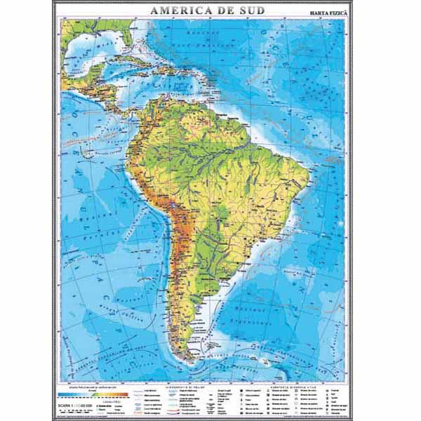 America De Sud Harta Fizică 1400 1000 Mm Mold Didactica